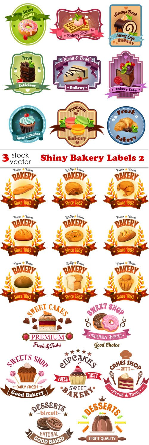 Vectors - Shiny Bakery Labels 2