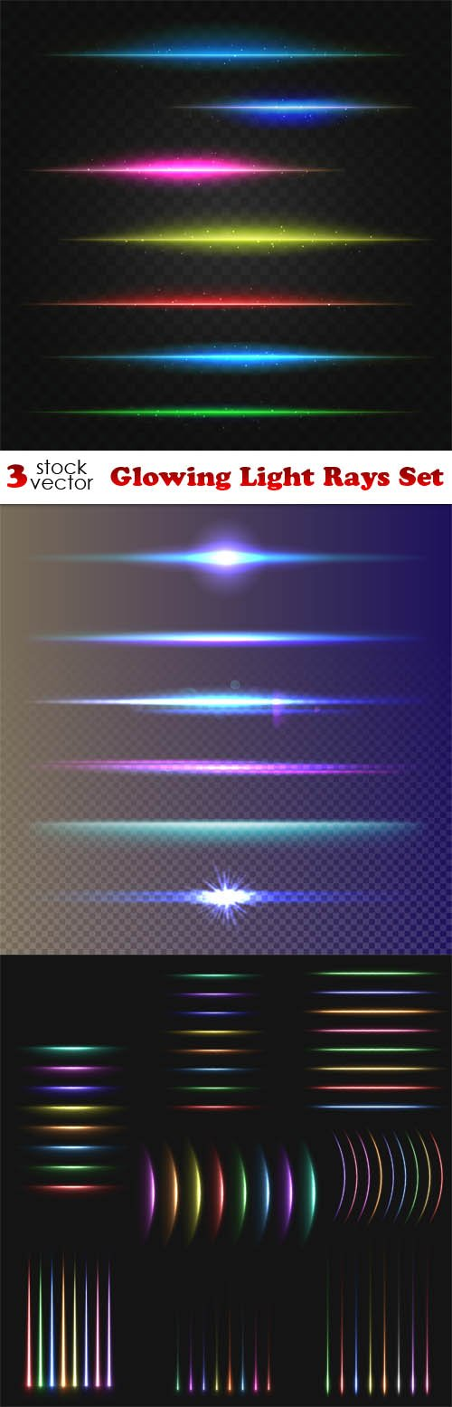 Vectors - Glowing Light Rays Set