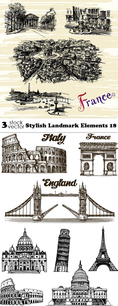 Vectors - Stylish Landmark Elements 18