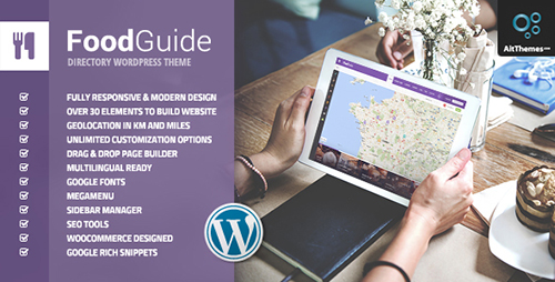 ThemeForest - Food Guide v1.18 - Restaurant  Food and Drinks Directory Listing WordPress Theme - 17090002
