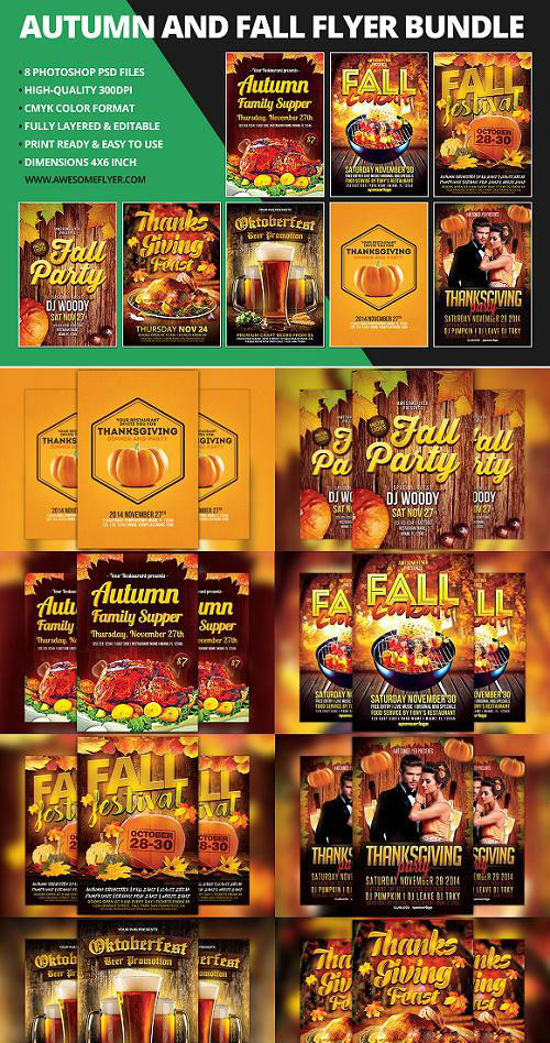 Autumn & Fall Flyer Template Bundle - 949413
