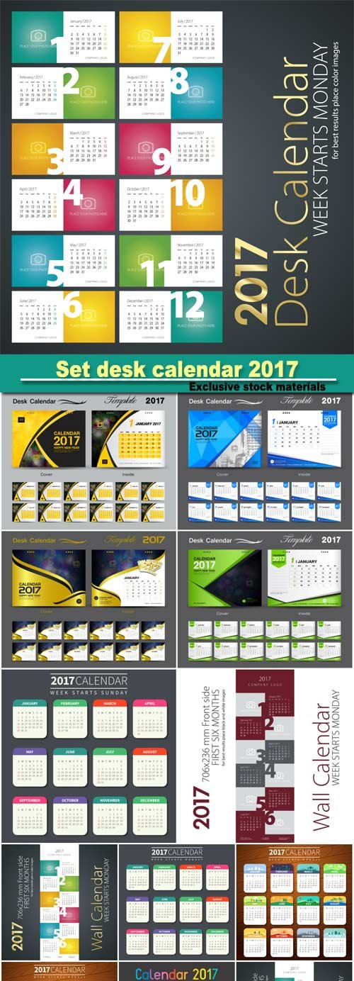 Set Desk Calendar 2017 Template Design, Cover Desk Calendar, Flyer