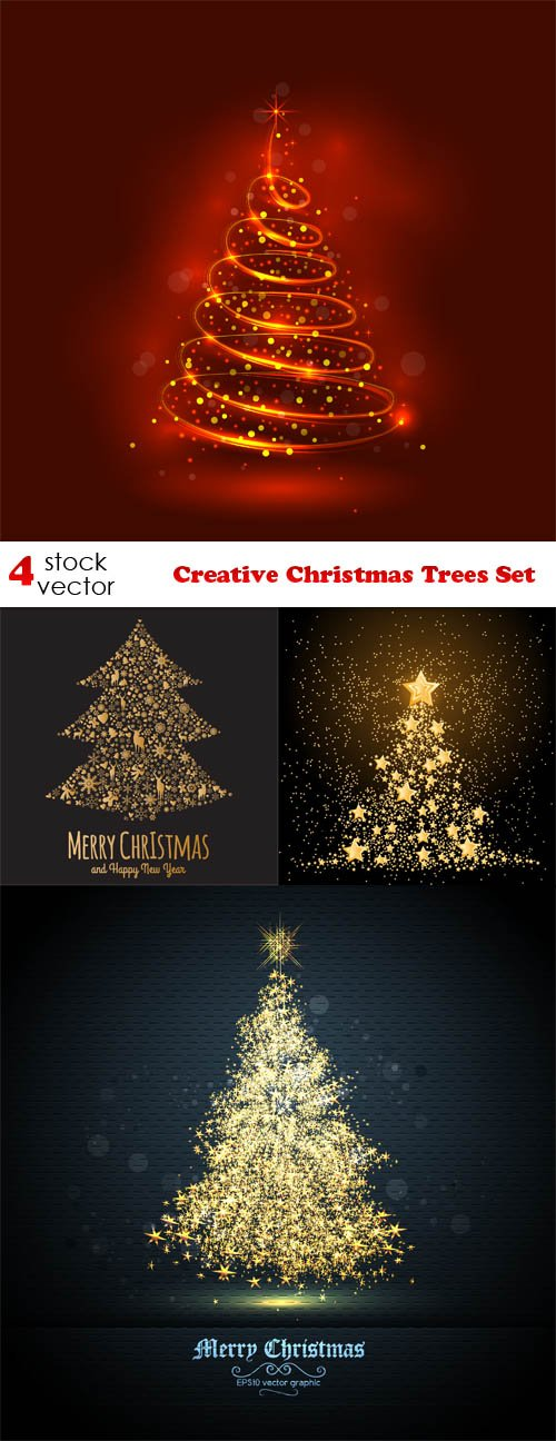 Vectors - Creative Christmas Trees Set