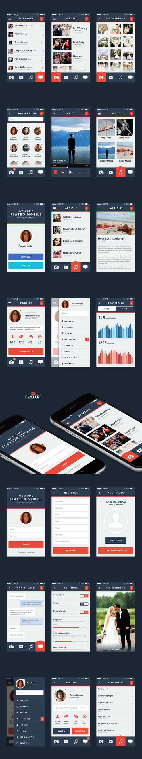 Flatter Mobile UI Kit