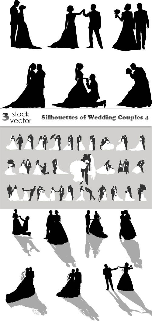Vectors - Silhouettes of Wedding Couples 4