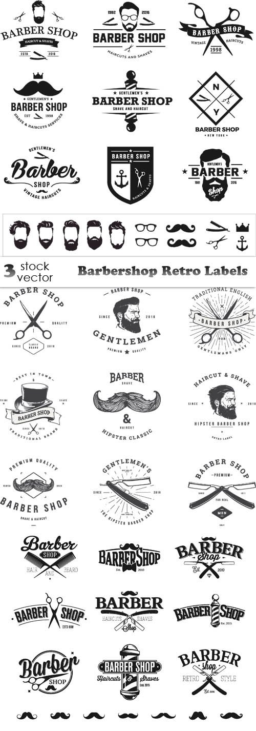 Vectors - Barbershop Retro Labels