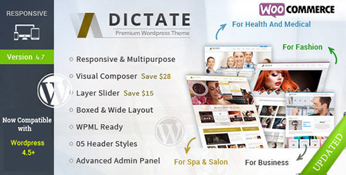 ThemeForest - Dictate v4.7.1 - Business, Fashion, Medical, Spa WP Theme - 6402450