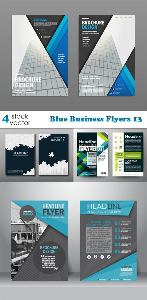 Vectors - Blue Business Flyers 13