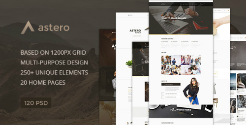 Astero - Multipurpose Portfolio | Blog | Store PSD Template 16575094