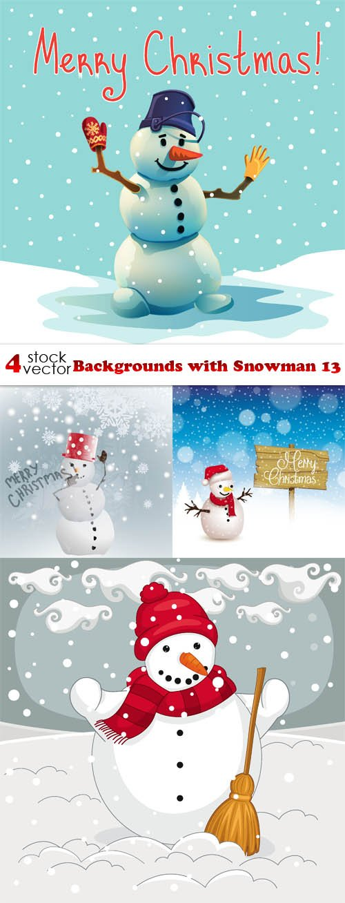 Vectors - Backgrounds with Snowman 13