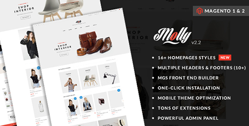 ThemeForest - Molly v2.3 - Elegant & Clean Multipurpose Magento 2 & 1 Theme - 14437591