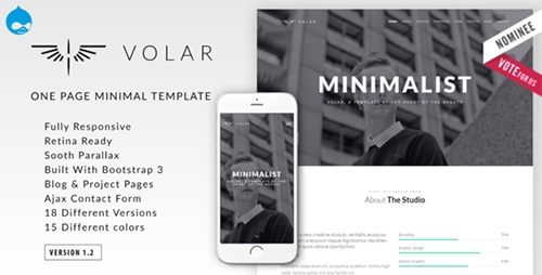 ThemeForest - Volar v1.2 - One Page Minimal Parallax Drupal Theme - 13858082