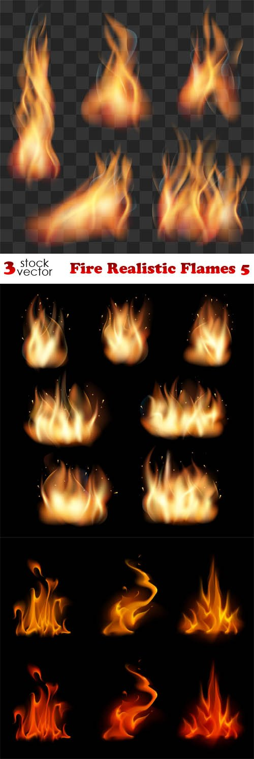 Vectors - Fire Realistic Flames 5