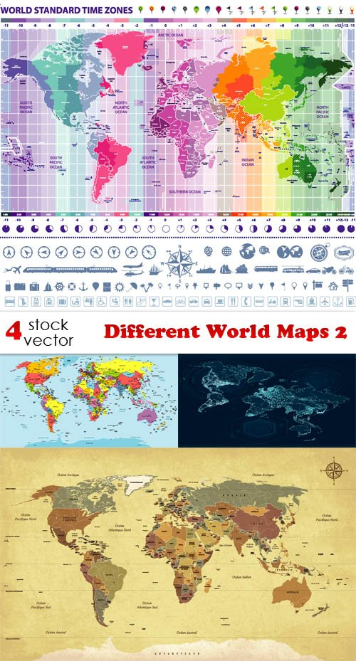 Vectors - Different World Maps 2