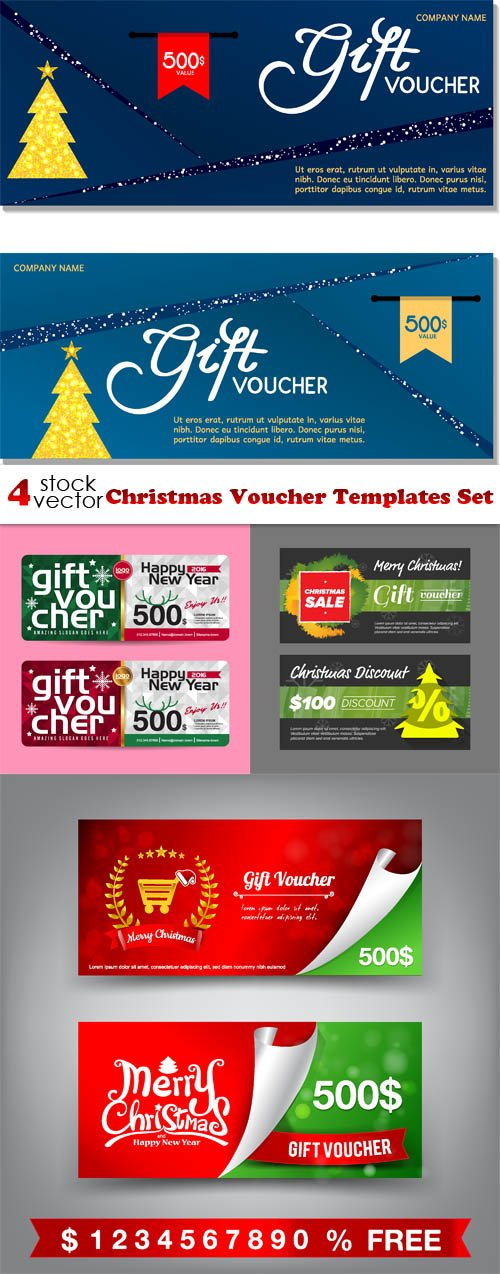 Vectors - Christmas Voucher Templates Set
