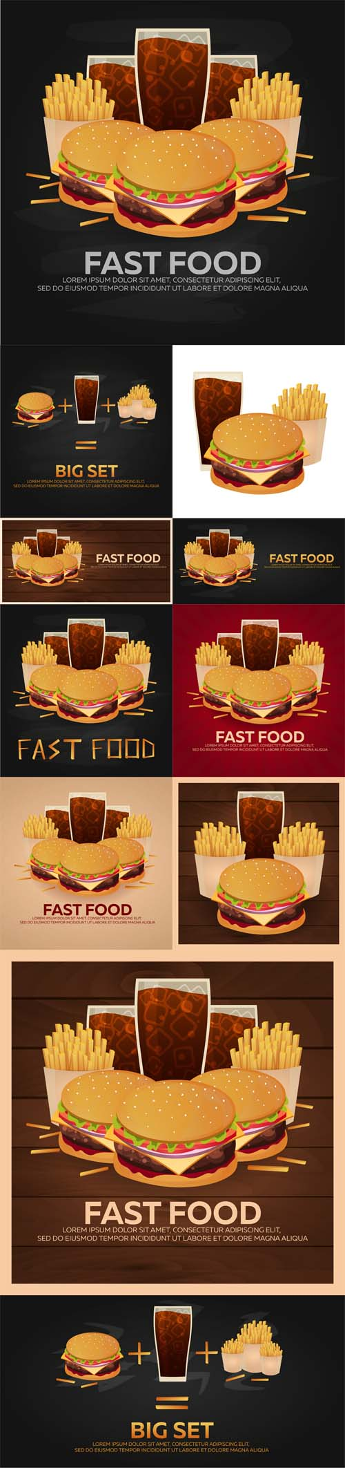 Vector Lunch with French Fries Burger and Soda Takeaway on Isolated Background