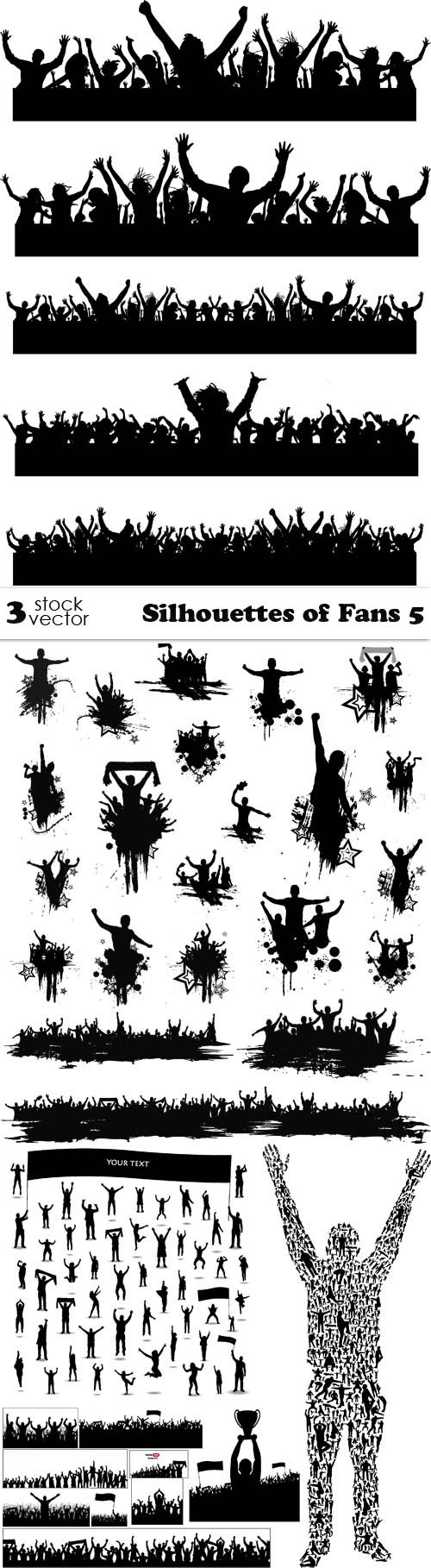 Vectors - Silhouettes of Fans 5
