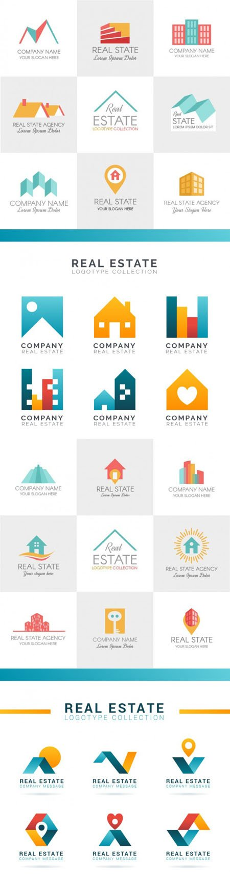 Colored Real Estate Logotypes in Vector