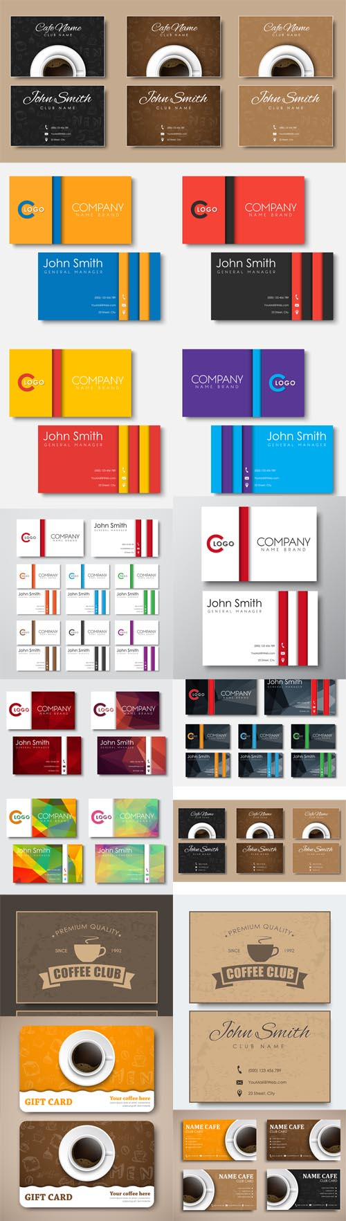 Vector Business Cards Templates in the Style of the Material Design