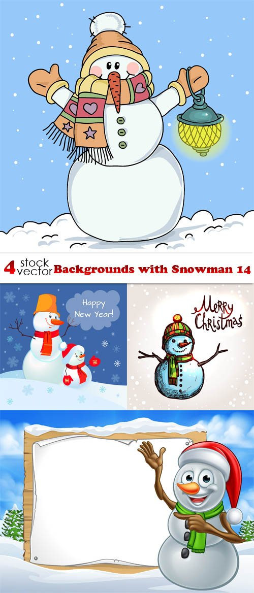 Vectors - Backgrounds with Snowman 14