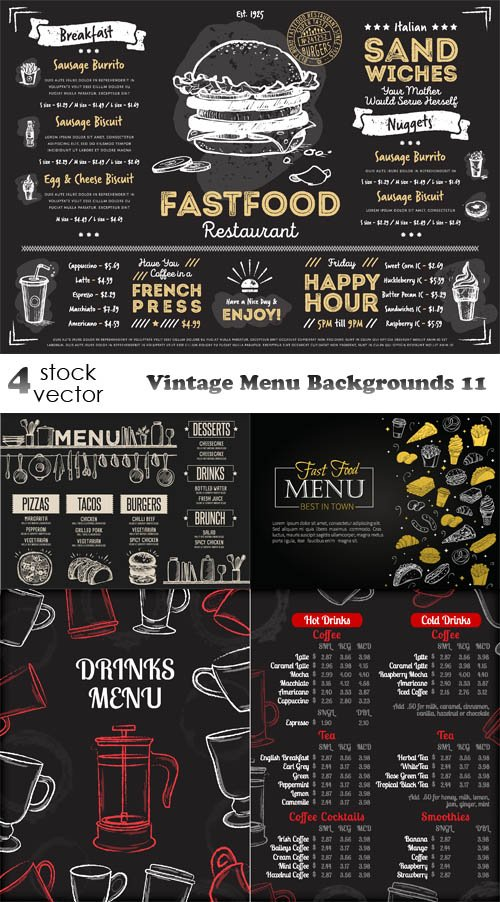 Vectors - Vintage Menu Backgrounds 11