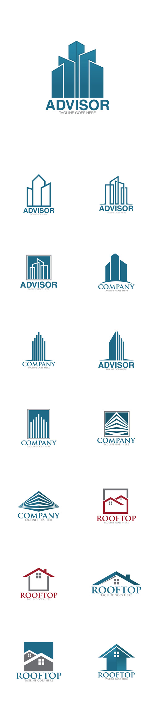 Vector Building Advisor and Home Roof Top Logos