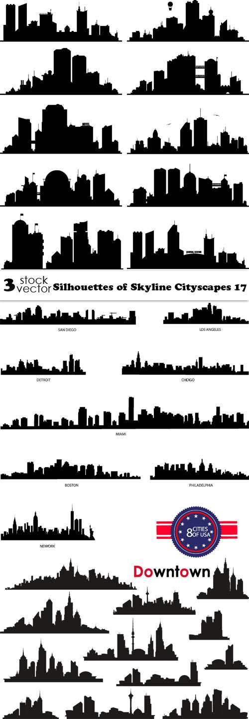 Vectors - Silhouettes of Skyline Cityscapes 17