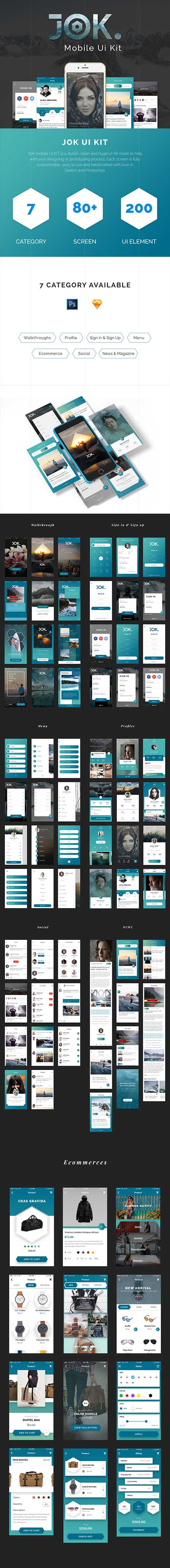 JOK Mobile UI Kit - Stylish & trendy iOS UI Kit for Sketch & Photoshop
