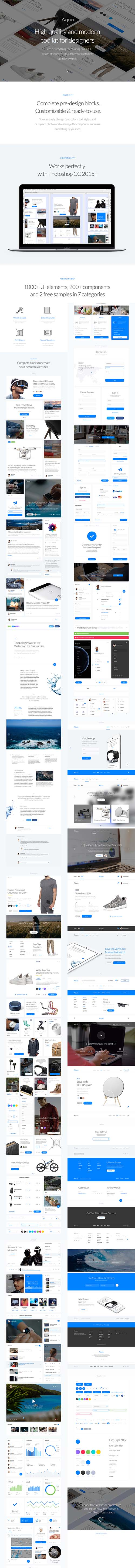 Aqua - Aqua Web UI Kit for Photoshop
