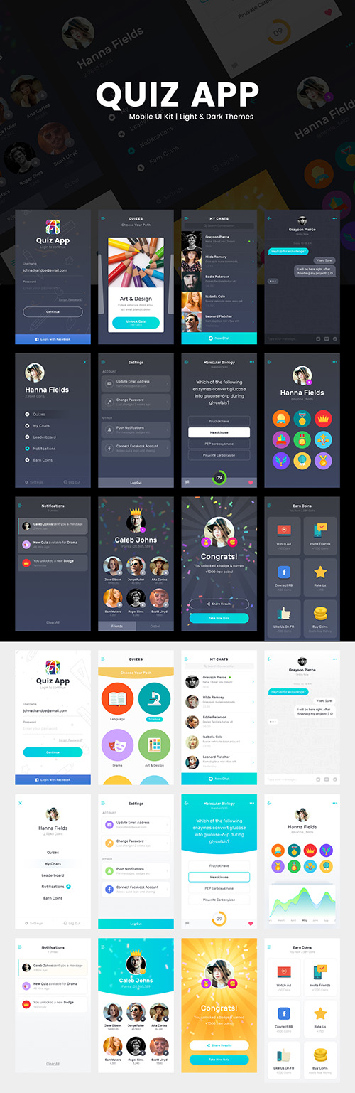 Quiz App - Light & Dark themed mobile UI kit