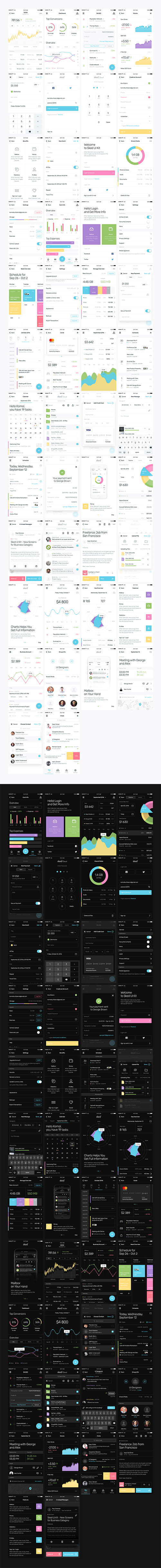Sked Mobile UI Kit - 40+ Light & dark screens for mobile