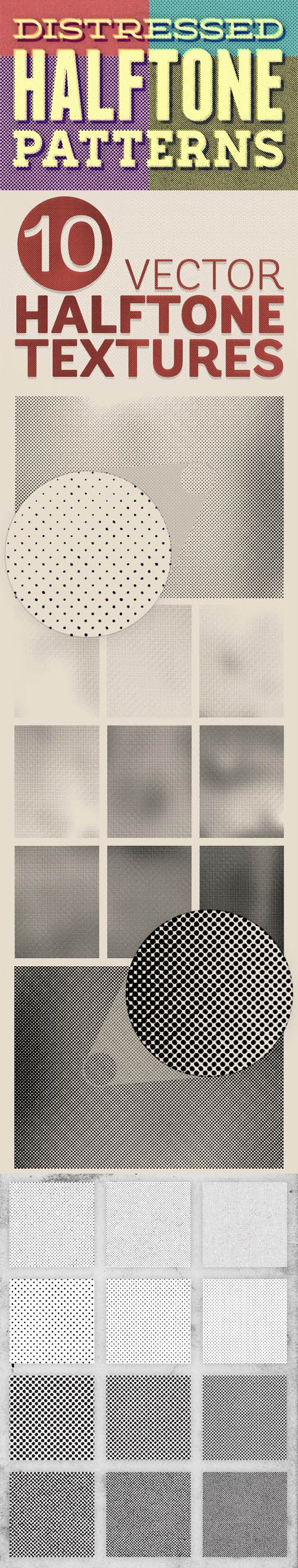 22 Halftone Photoshop Pattern Textures + Detailed Vector Backgrounds