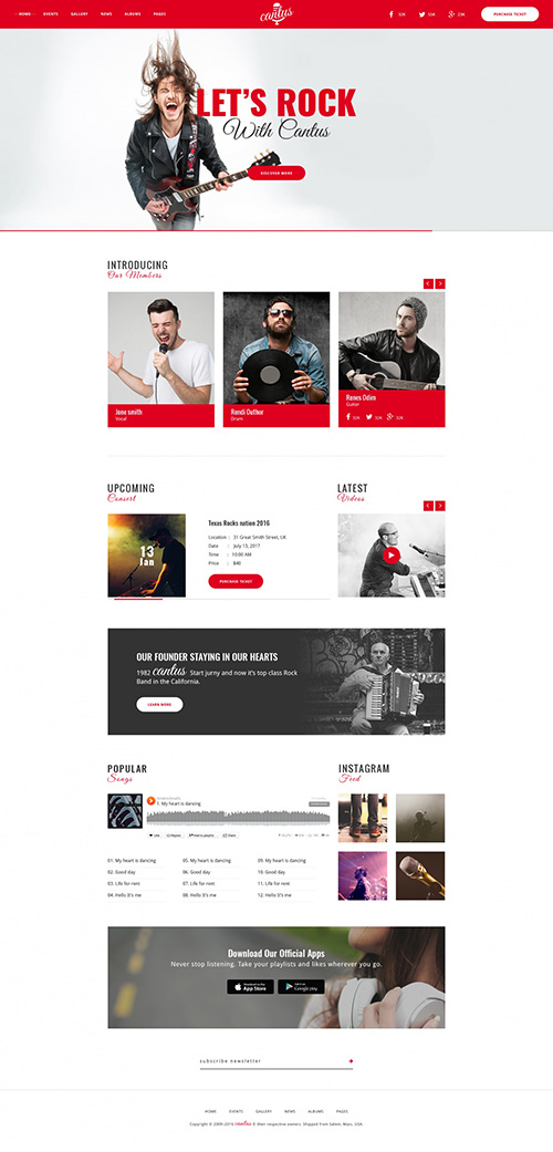 PSD Web Template - Cantus - Great Template For Bands And Musicians