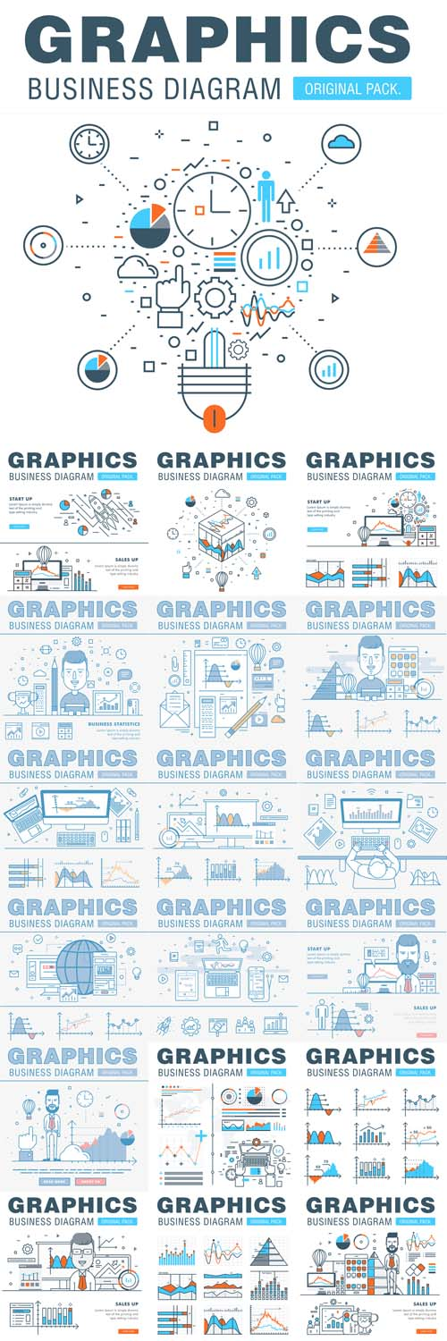 Vector Business Graphics of Modern Office Industry