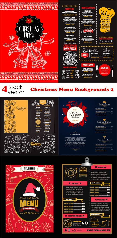 Vectors - Christmas Menu Backgrounds 2
