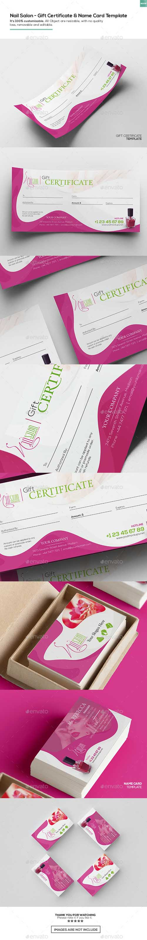 Nail Salon/ Gift Certificate and Business Card Template 16150102
