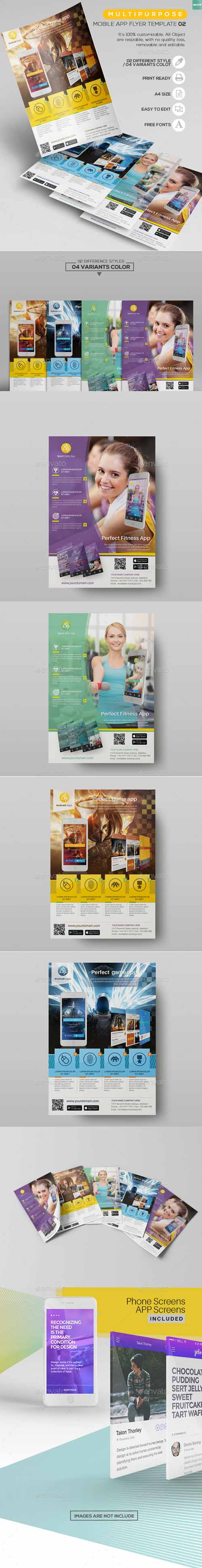 Multipurpose - Mobile App Flyer Template 02 13456337