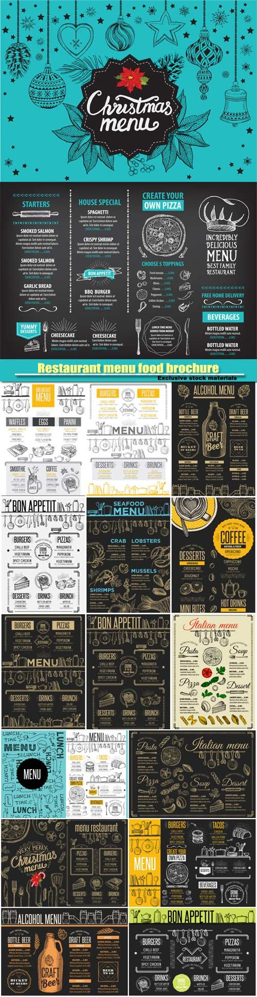 Restaurant menu placemat food brochure, cafe template design, vintage creative dinner flyer with hand-drawn graphic