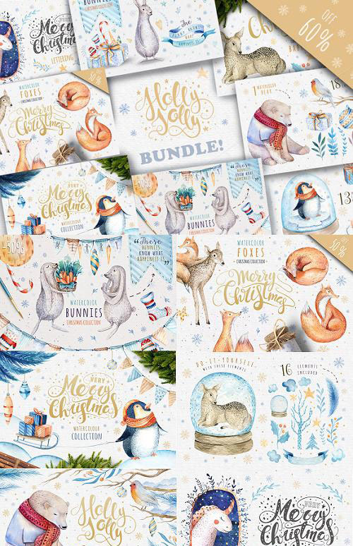Watercolour Christmas BUNDLE! - 991111