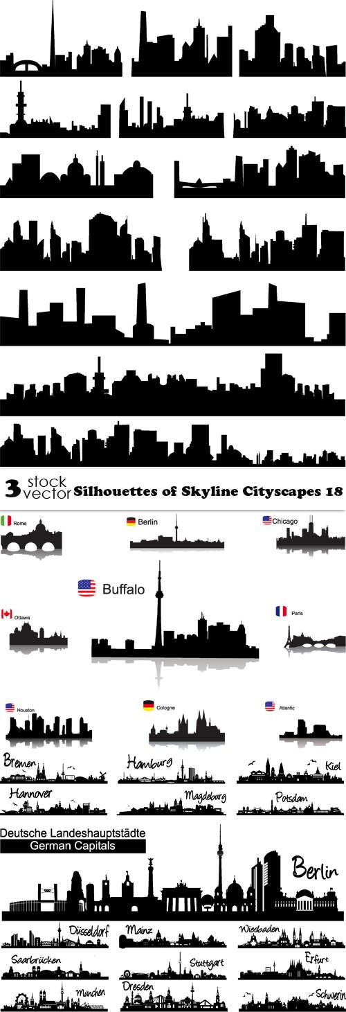Vectors - Silhouettes of Skyline Cityscapes 18