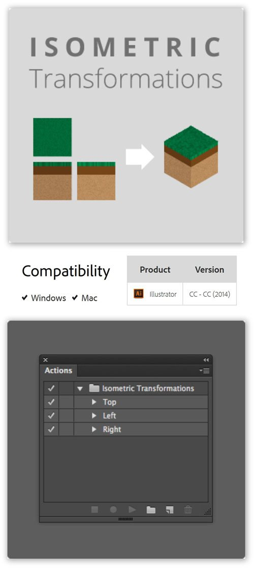 Isometric Transformations 1.0.0 Plug-in for Illustrator