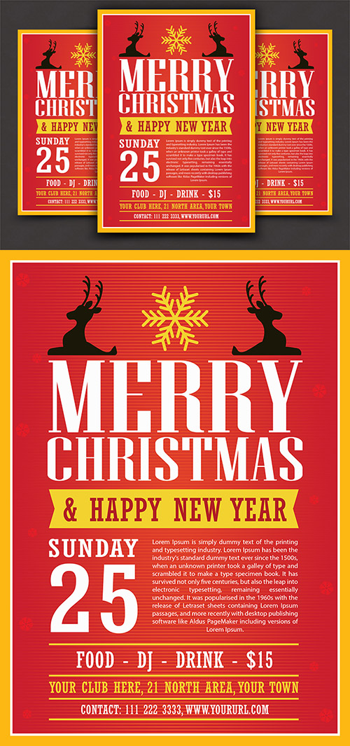 Ai Vector Flyer Template - Modern Christmas And New Year 2017