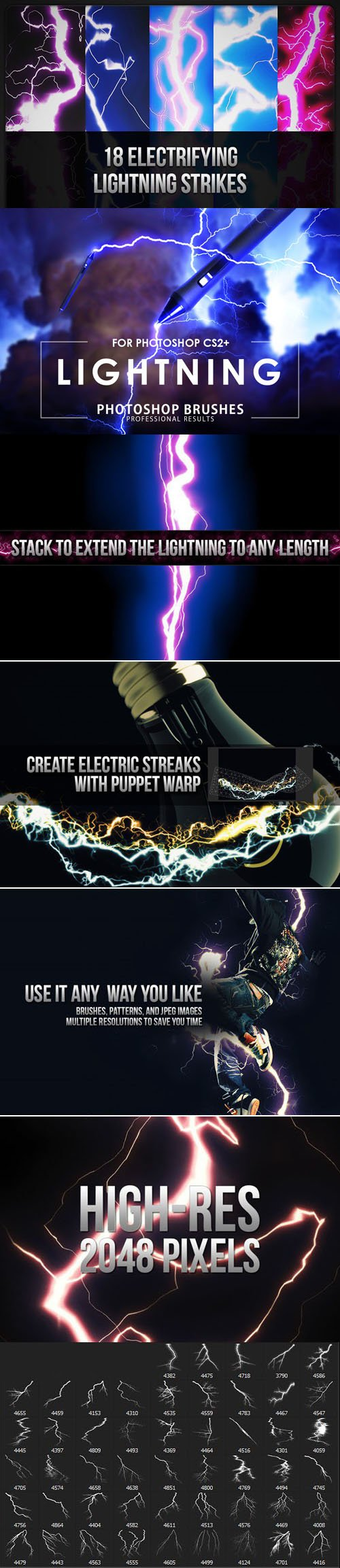 20 Electrifying Lightning Strikes Brushes for Photoshop