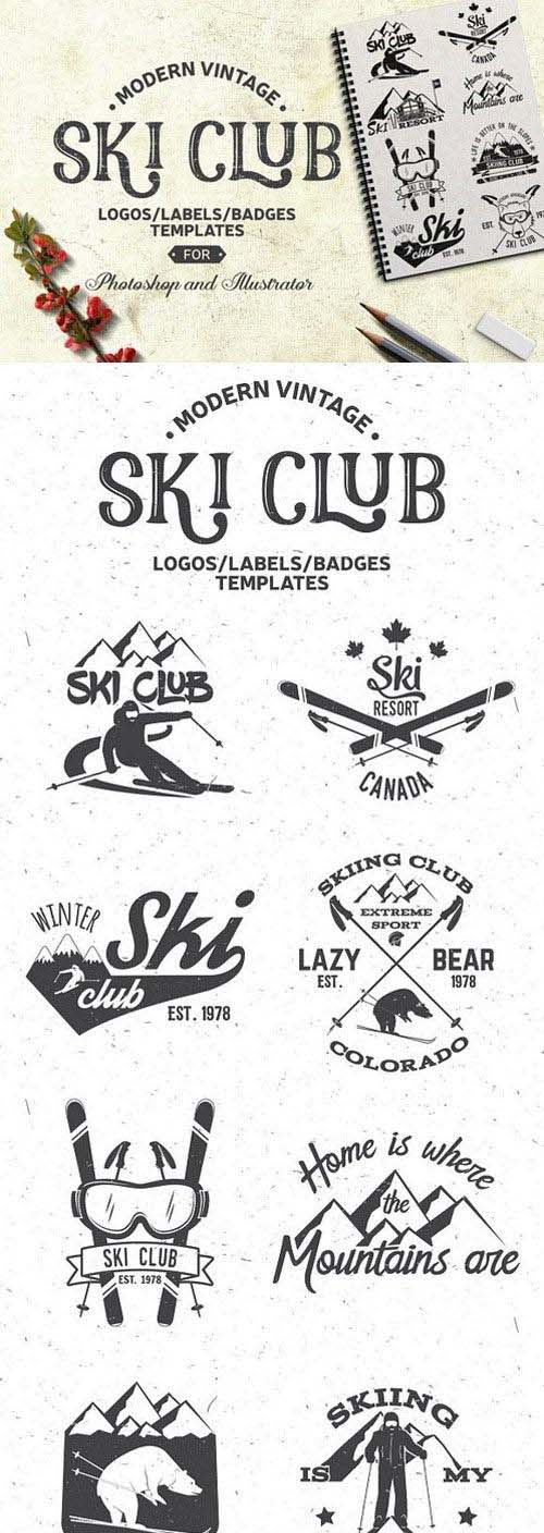 Vintage Ski Club Logos/Labels/Badges 1019173