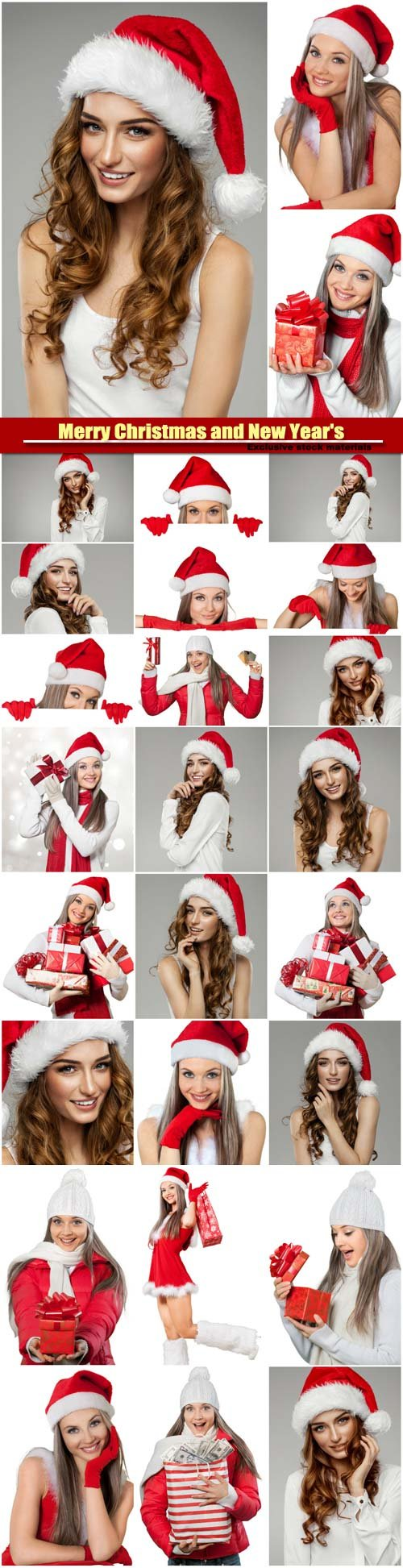 Beautiful female model wear santa hat, Merry Christmas and New Year's
