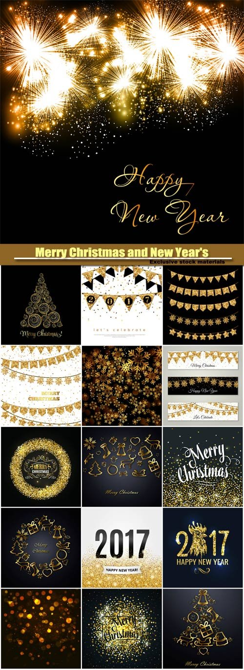 Merry Christmas and New Year's vector background, gold glitter design, snowflake on a dark backgroun...