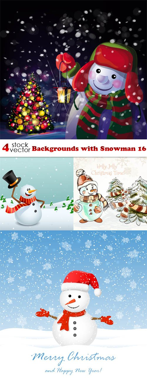 Vectors - Backgrounds with Snowman 16