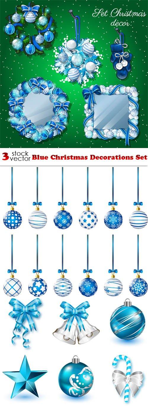 Vectors - Blue Christmas Decorations Set