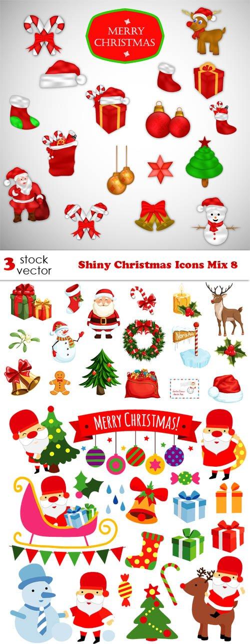 Vectors - Shiny Christmas Icons Mix 8