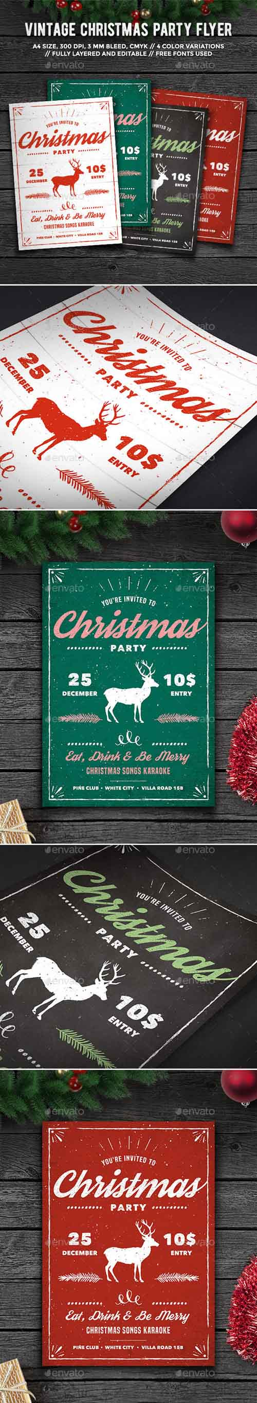 Vintage Christmas Party Flyer 13839276